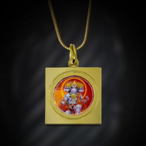 Square Panchmukhi Hanuman Kavach locket with golden chain hanging over black background shown in this image