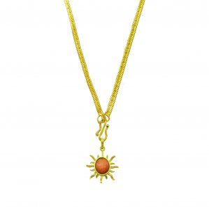 This image represents pendant surya kavach locket with gold chain to remove all diseases.