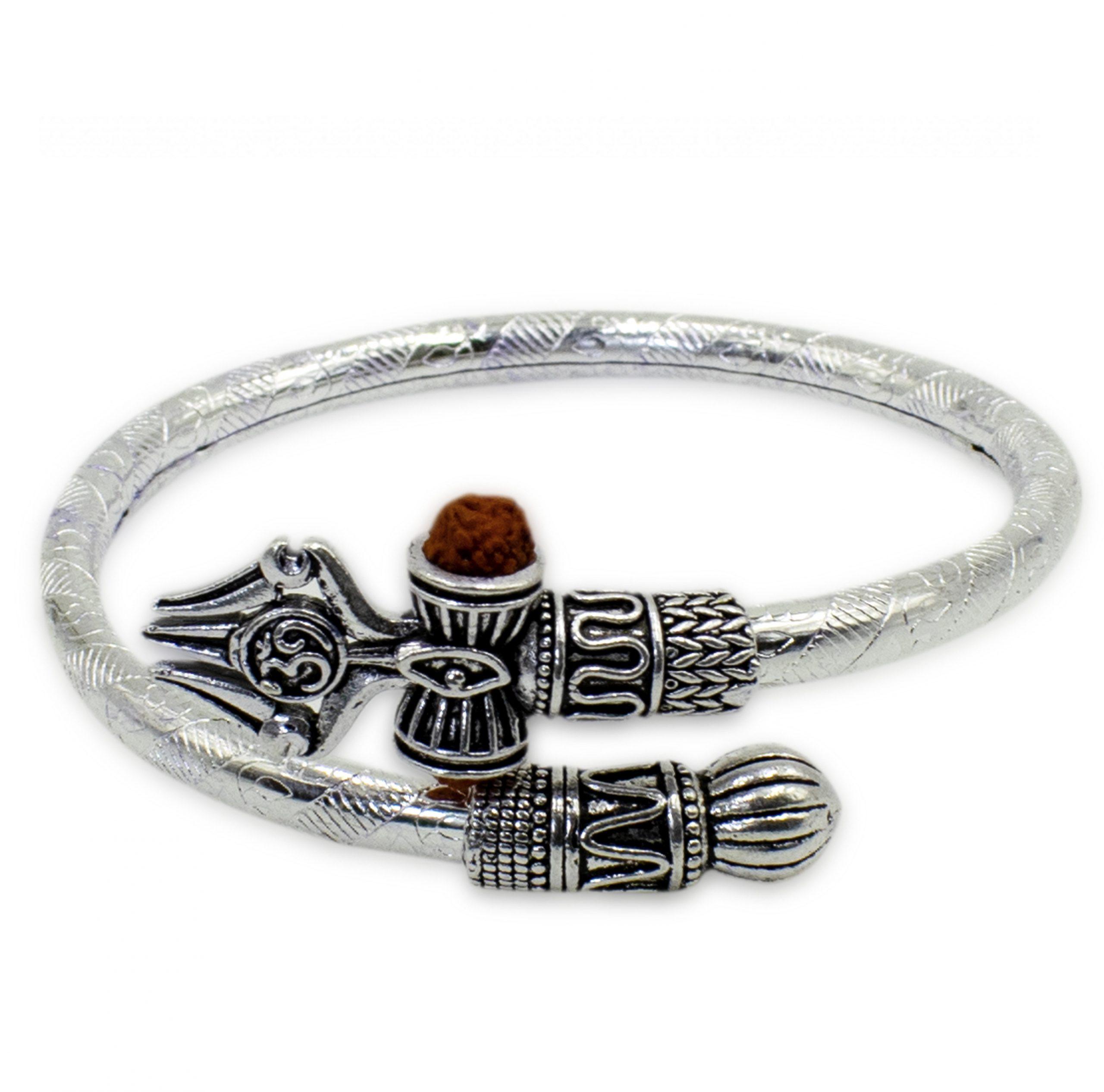 Online Buy Om Shiv Trishul Rudraksha Silver Bracelet