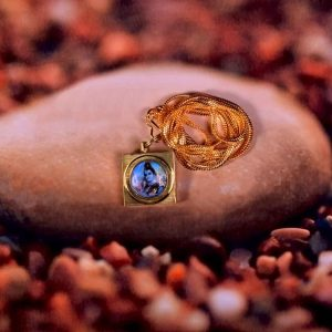 This image includes Maha Mrityunjaya Kavach Locket on stone with a gold chain to remove the fear of death.