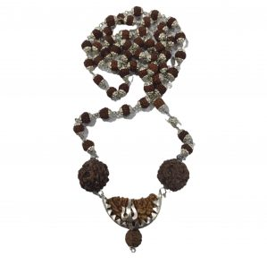 """It is a product image of the """"Ek Mukhi RUDRAKSHA Mala"""" that has a silver lid on every 108 beads available on the Prabhu-Bhakti portal."""