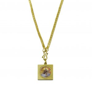 Painted image of Maa Saraswati in a hanging square shape locket with gold chain to seek blessings from the goddess of knowledge