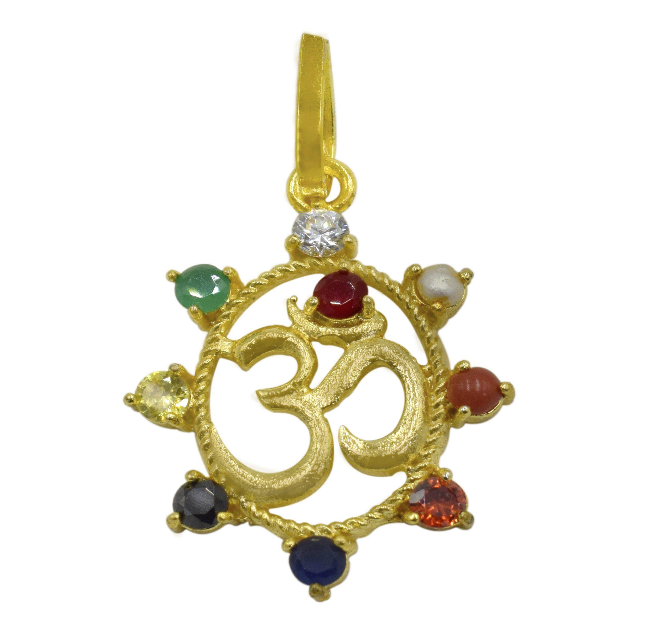 Buy Om Original Navratna Pendant Online