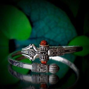 Om Shiv Trishul Rudraksha Silver Bracelet