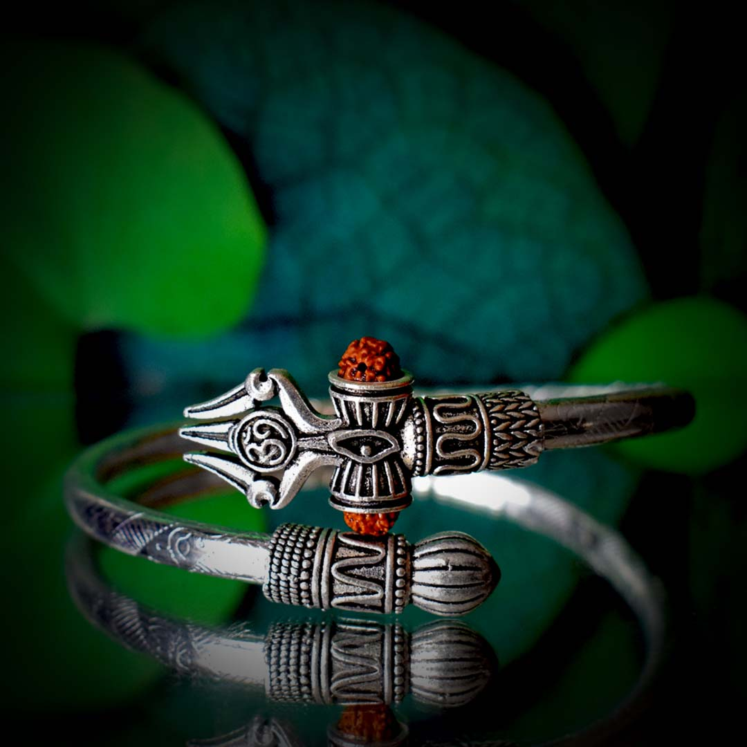 Buy Om Shiv Trishul Rudraksha Silver Bracelet Online
