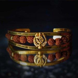 Om With Rudraksha Gold Bracelet