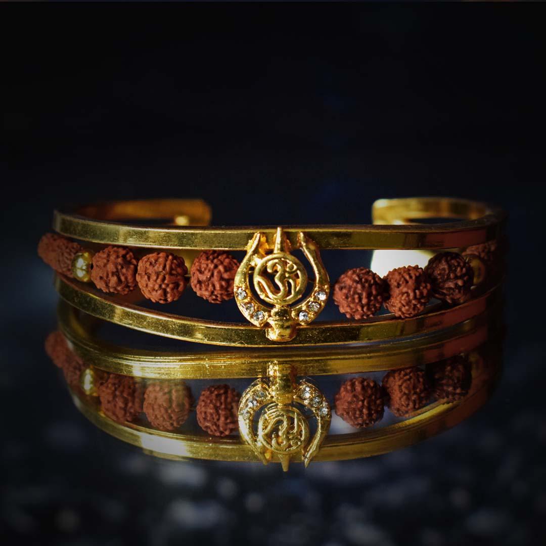 Buy Stylish & Genuine Om With Rudraksha Gold Bracelet Online