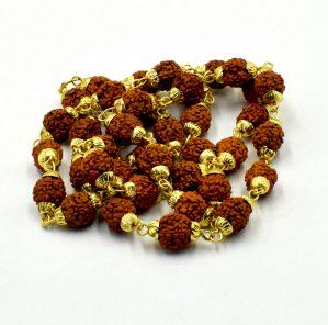 Gold Capping Panchmukhi Rudraksha Mala