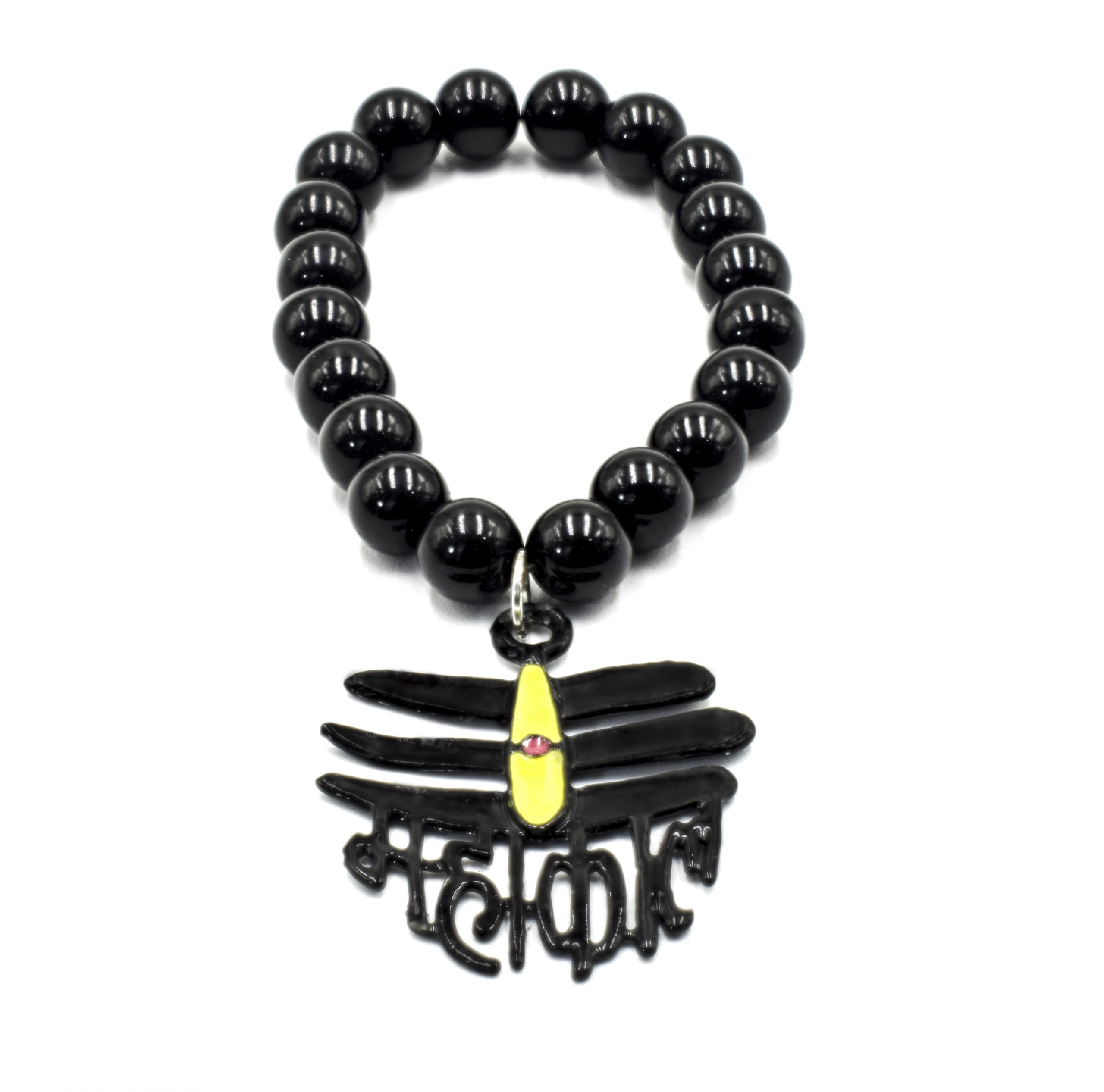 Buy Handmade Black Beaded Mahakal Bracelet Online