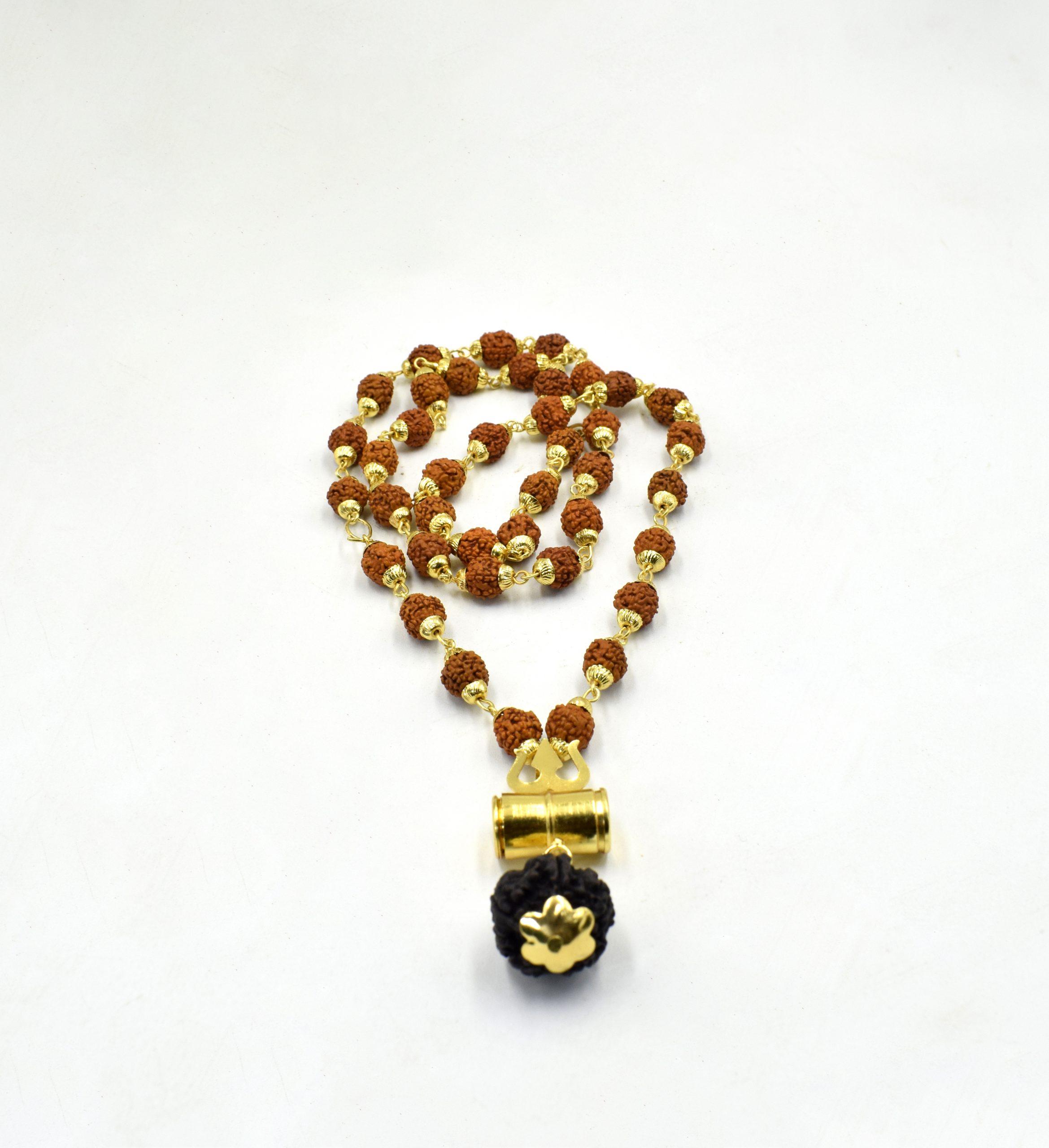 Panchmukhi Rudraksha Mala with Gold Capping