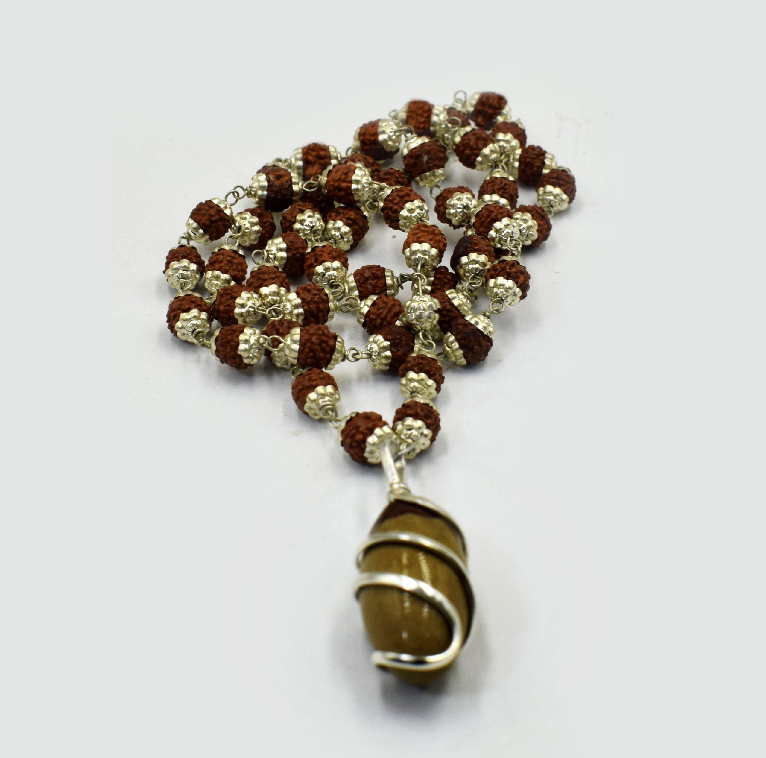 Narmadeshwar Shivling Locket with Silver Capped Panchmukhi Rudraksha Mala