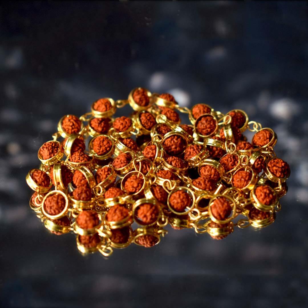 Buy Gold Capping Panchmukhi Rudraksha Mala Online