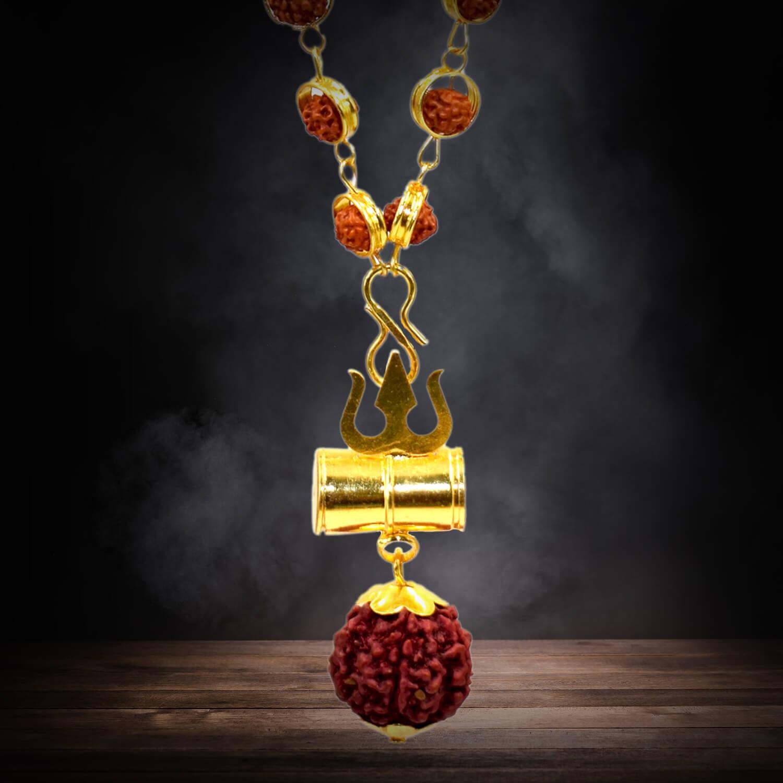 Buy Gold Capped Rudraksha Mala with Mahakal Kavach Online
