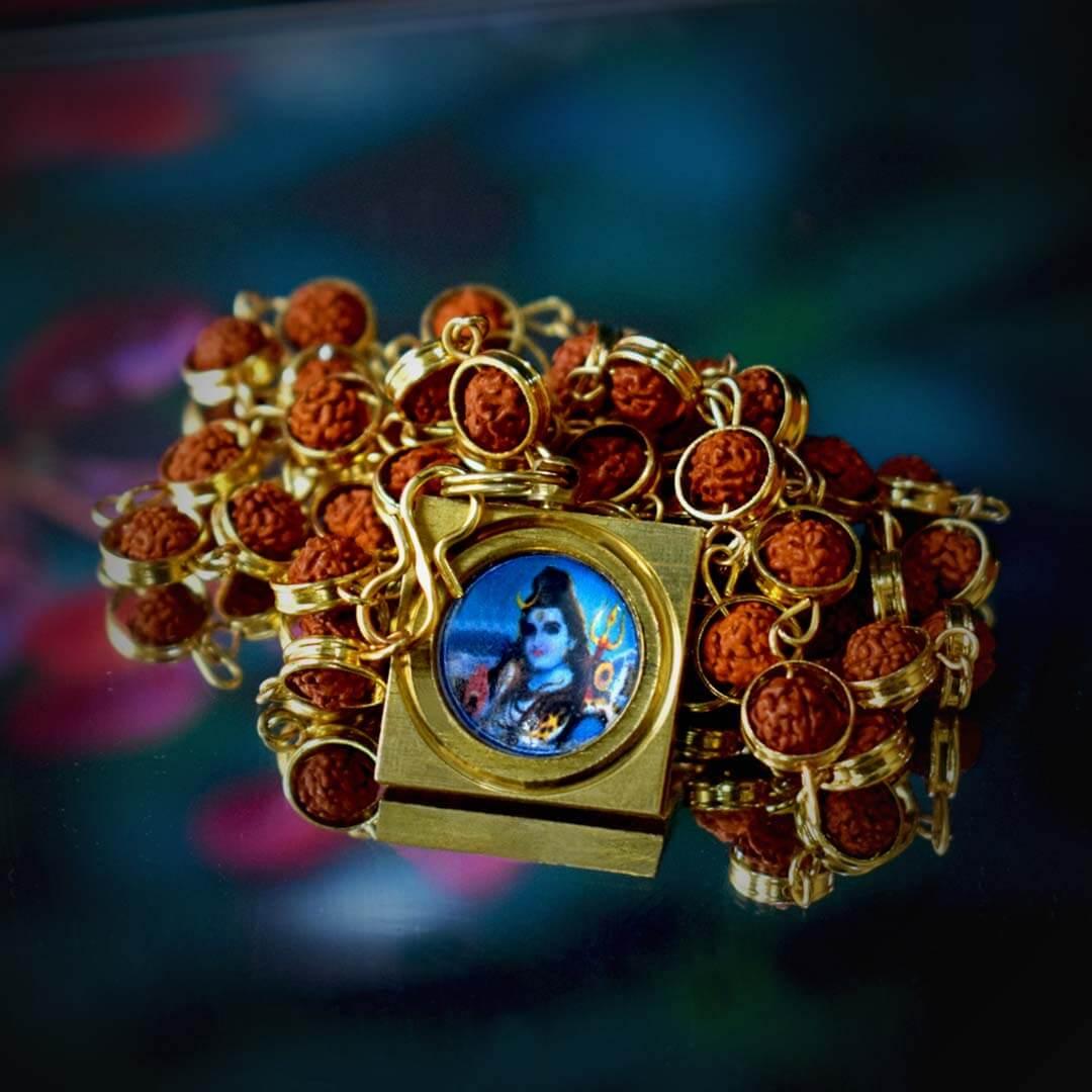 Buy Maha Mrityunjay Kavach With Gold Capped Rudraksha Mala