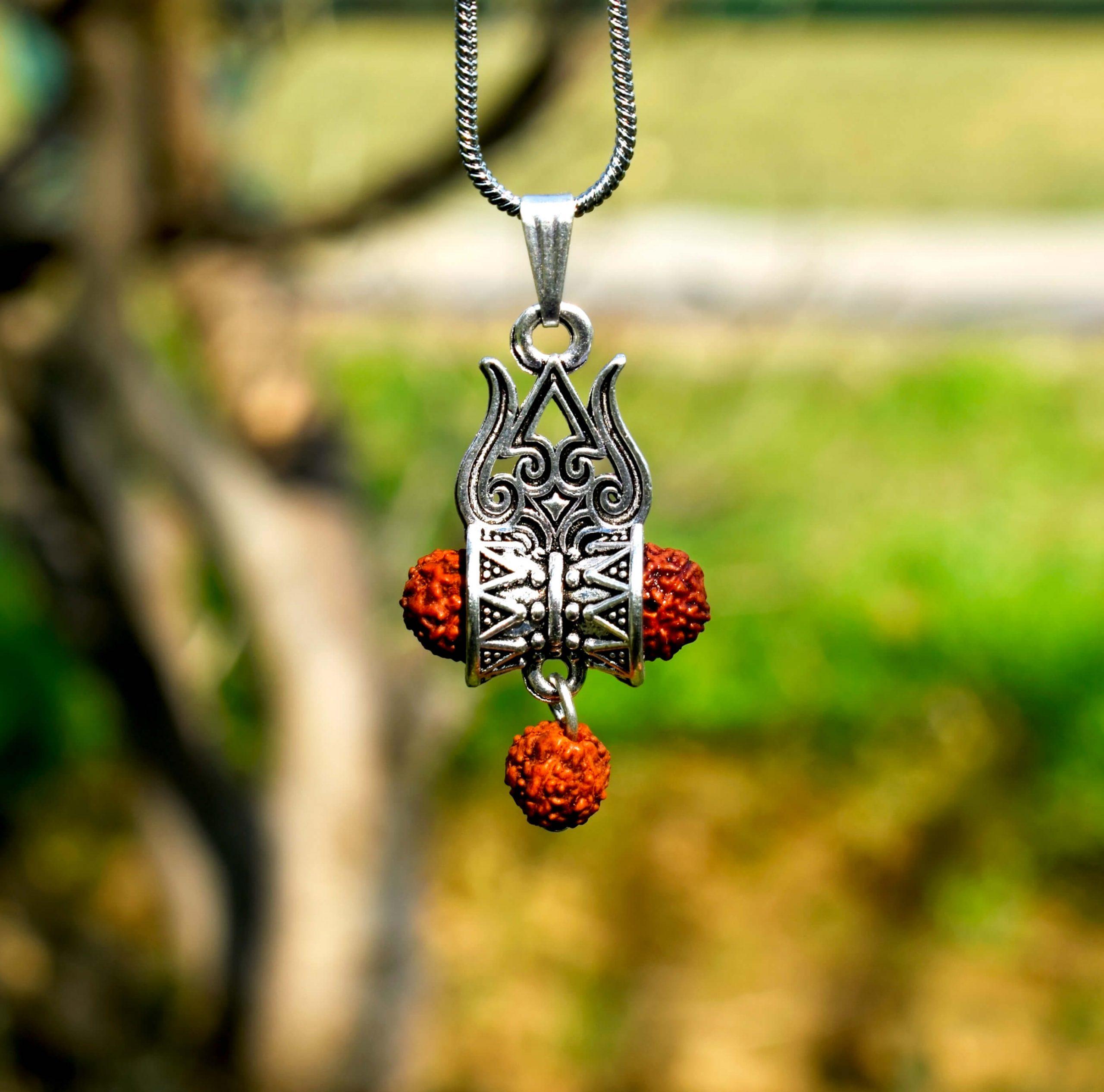 Shiva Trishul Damroo Rudraksha Silver Locket