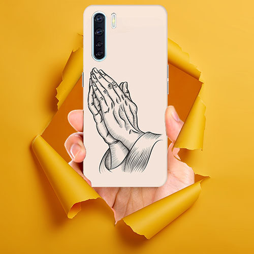 Prayer Sketch Mobile Phone Back Cover for Oppo F15