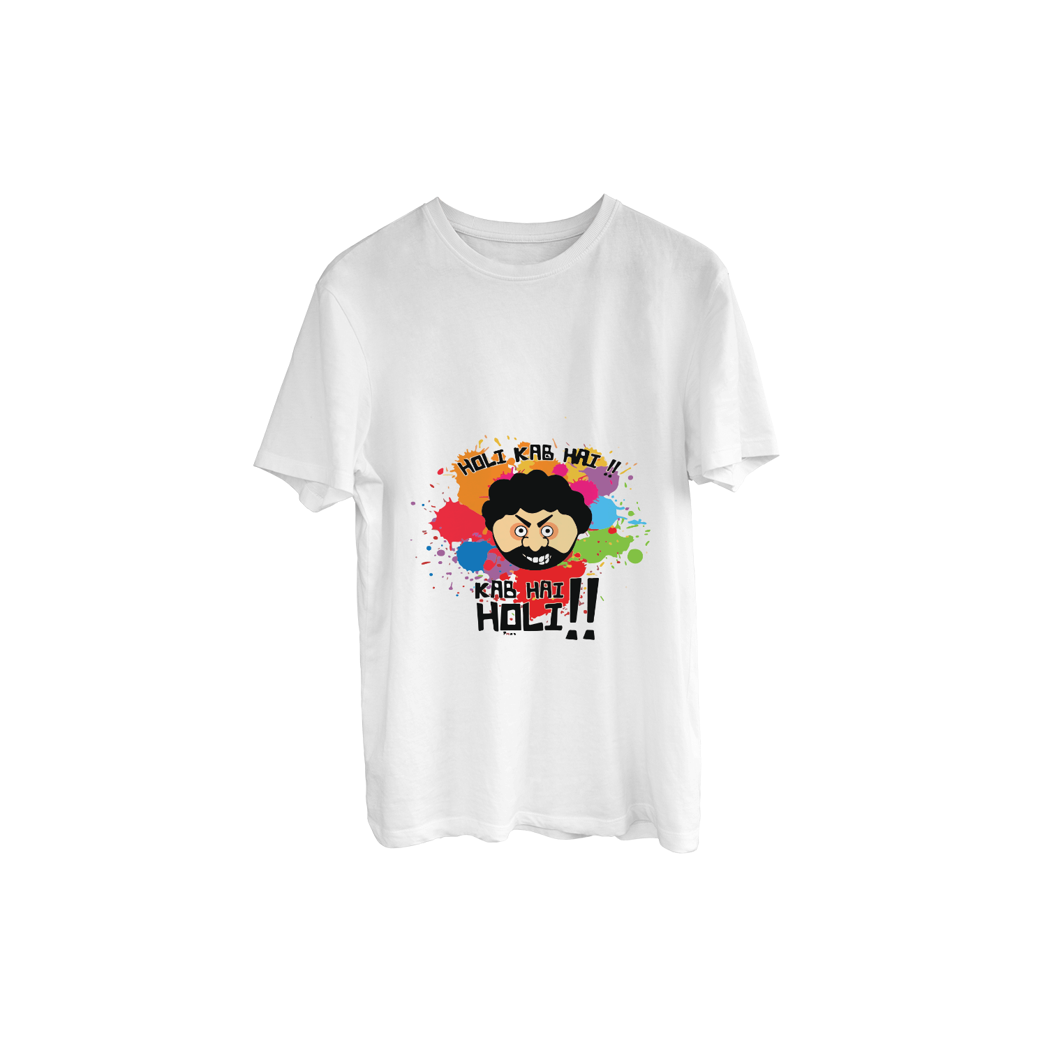 "Holi Special ""Kab Hai Holi"" With Gabbar Cartoon Printed T-Shirt"