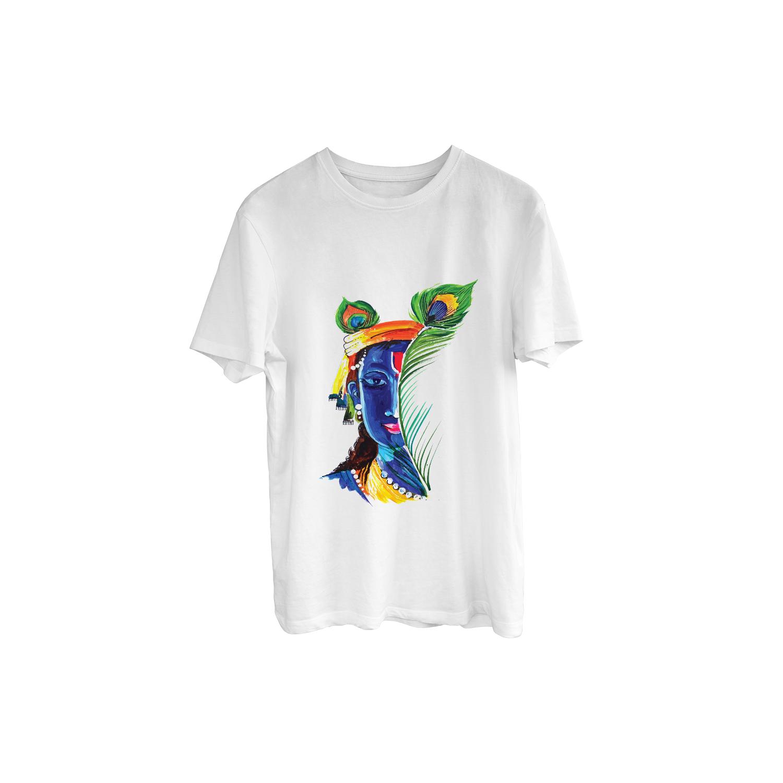 Classic Krishna Ji Portrait Print T-Shirt