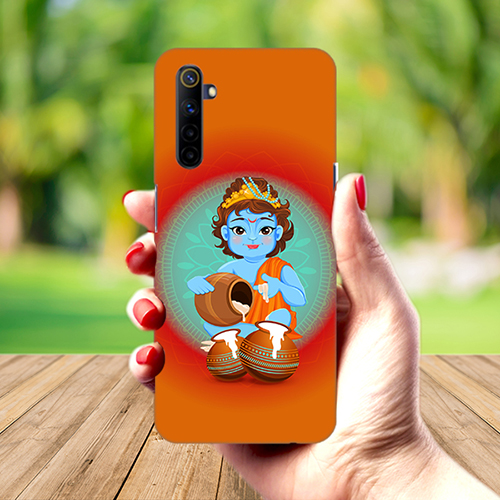 Krishna Makhanchor Orange Mobile Phone Back Cover for Realme 6