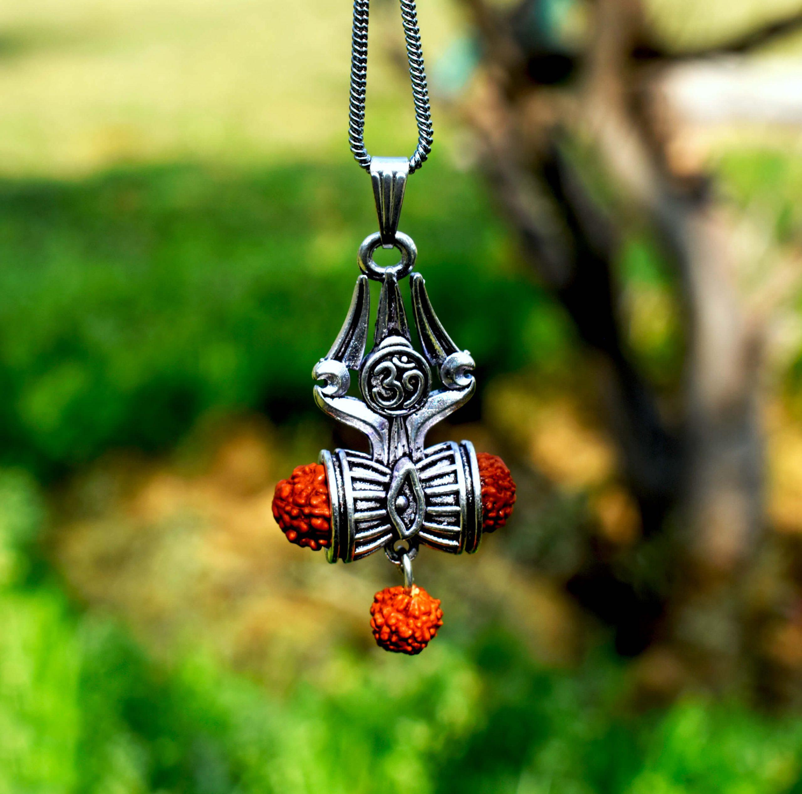 Om Shiva Trishul Damroo Rudraksha Silver Locket