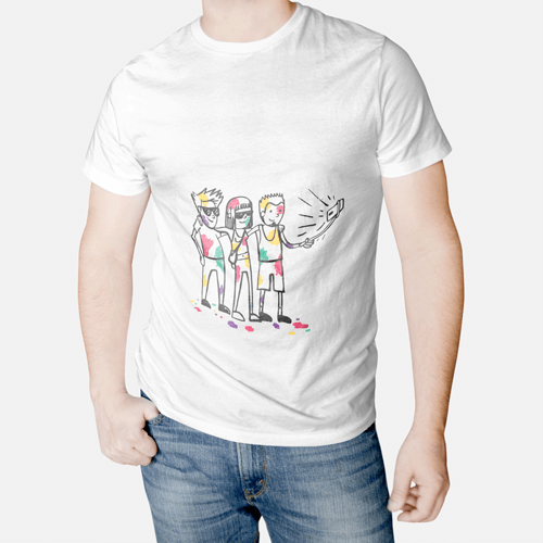 Holi Special Cartoon Printed T-Shirt