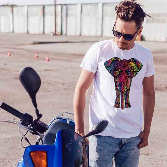 Colorful Elephant With Natural Painting men t-shirt