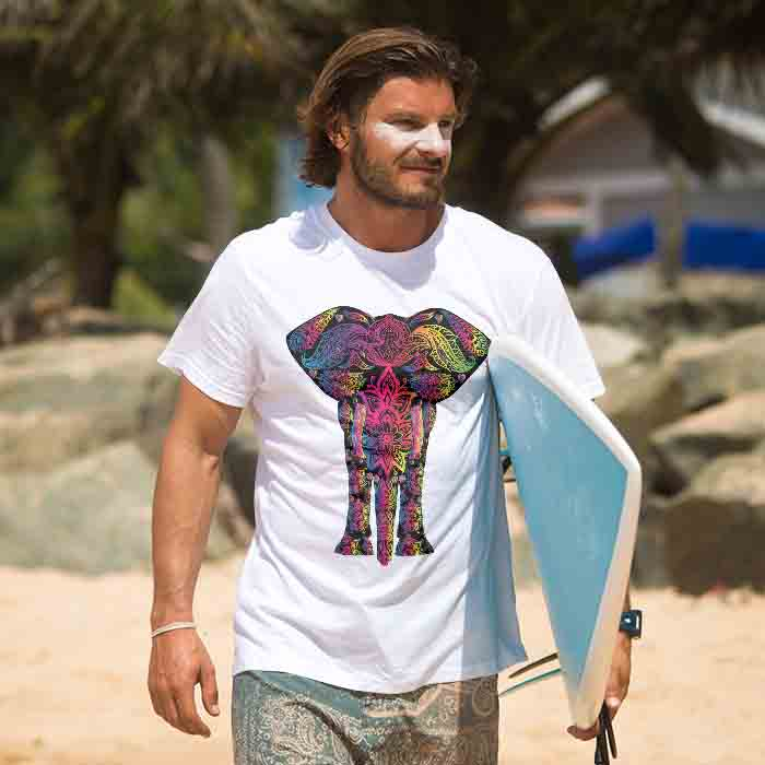 Colorful Elephant With Natural Painting t shirt for men