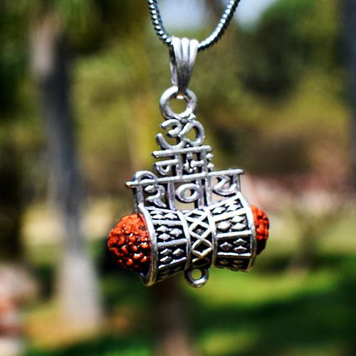 Om Namah Shivaay Shiva Trishul Damroo Rudraksha Silver Locket
