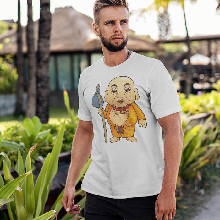 Funny Monk Cartoon men t shirt