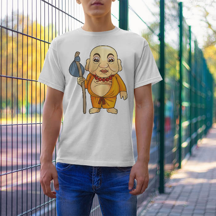 Funny Monk Cartoon t-shirt for men