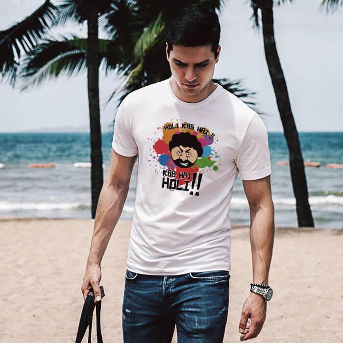Holi Special Gabbar white t shirt for men