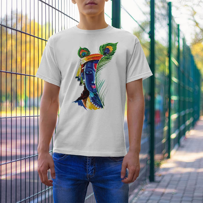 Krishna With Mor Pankh t-shirt for men