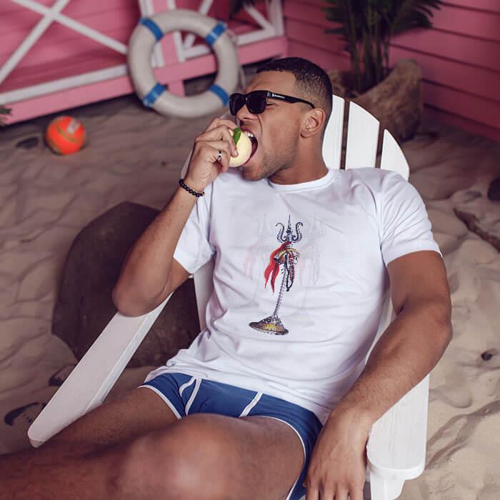 Mahadev Trishul white t shirt for men
