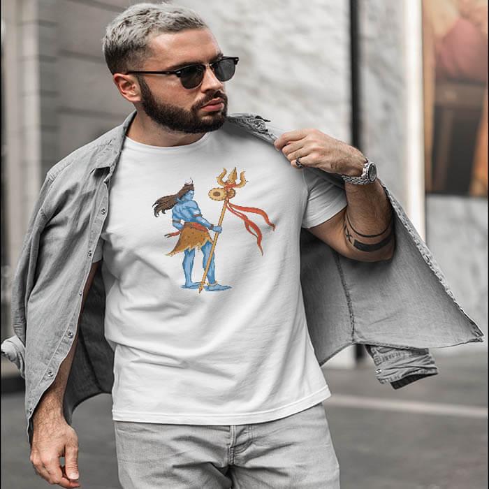 Mahadev with trishul Damru t shirt for men