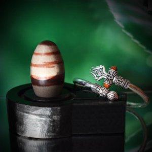 Narmadeshwar Shivling With Stone Base and Silver Om Rudraksh Bracelet