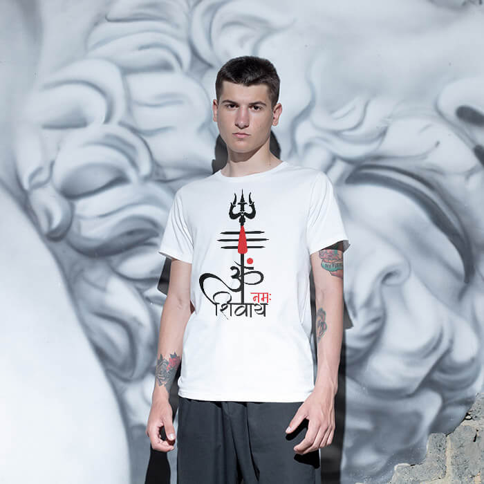 OM Namah Shivay Mantra With Tilak Trishul white t shirt for men