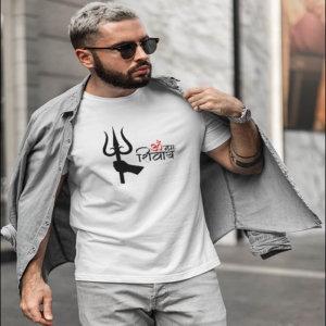 Om Namah Shivaya With Trishul men t-shirt