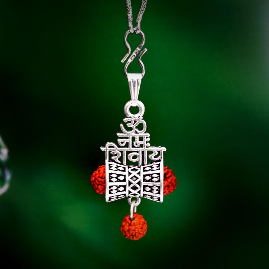Buy Rudrakshal Silver Locket With Om Namah Shivaay