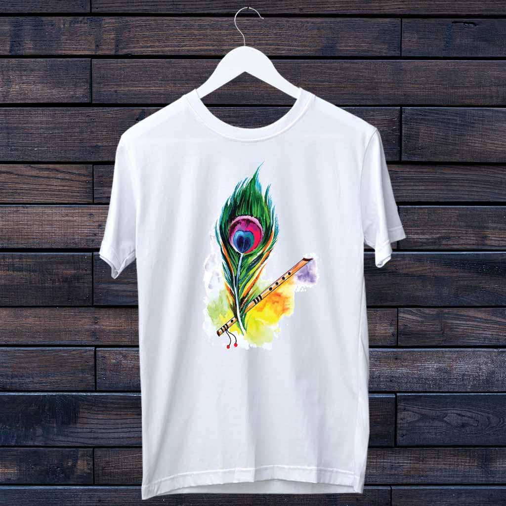 Classic Krishna/Murli Portrait Print T-Shirt