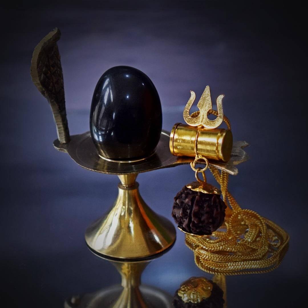 Buy Original Shaligram with Brass Base and Mahakal Kavach Online