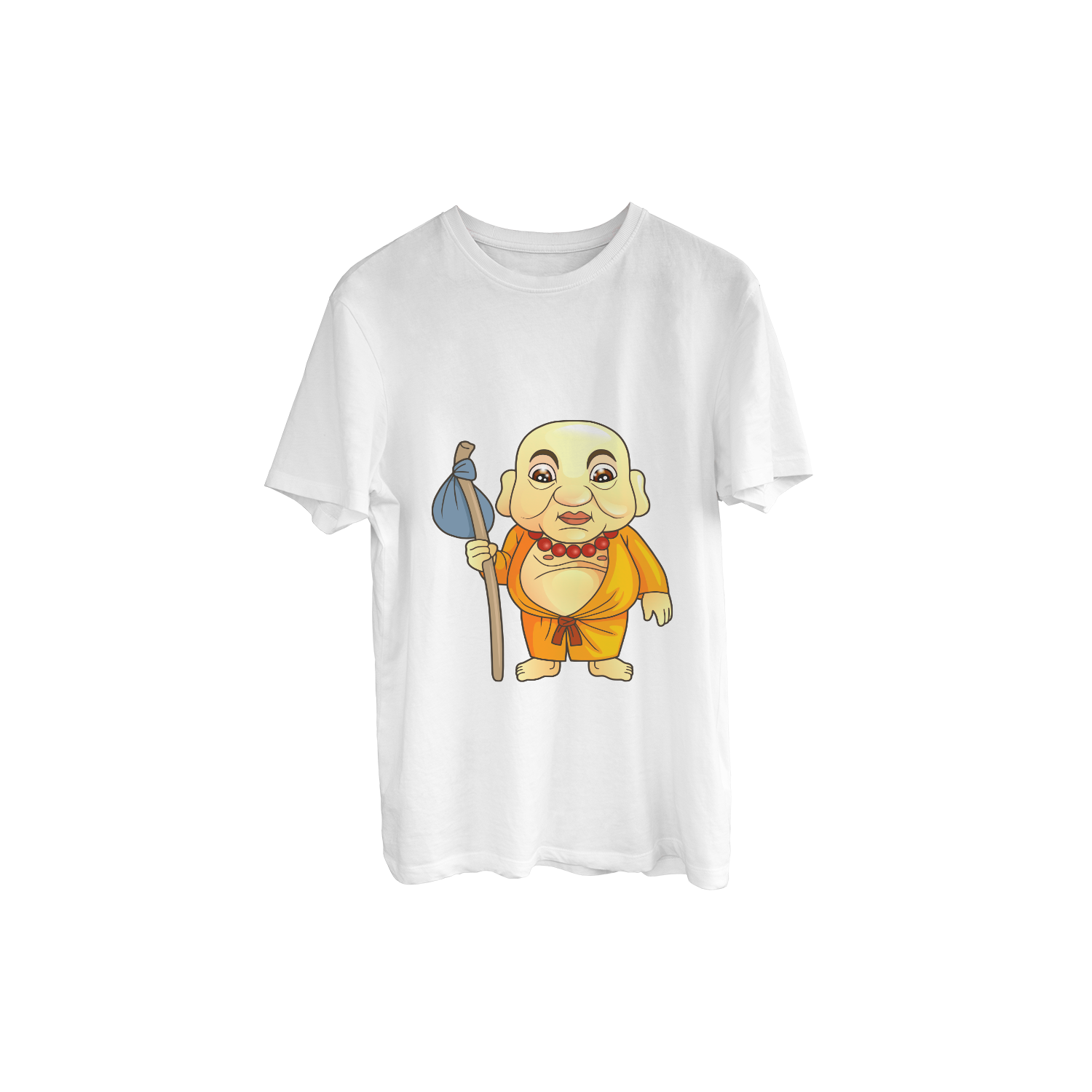 Funny Monk Cartoon Print T-Shirt