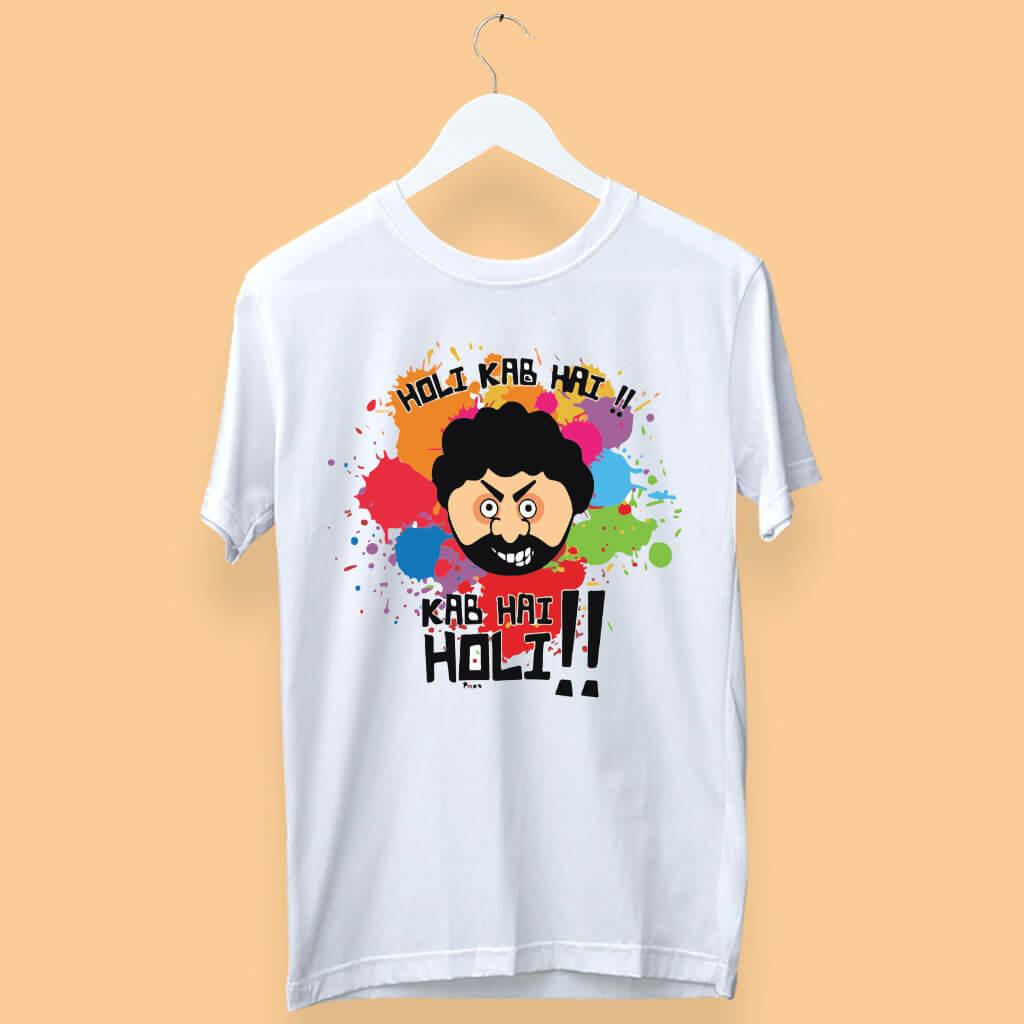 "Holi Special ""Kab Hai Holi"" With Gabbar Cartoon Printed T-Shirt"