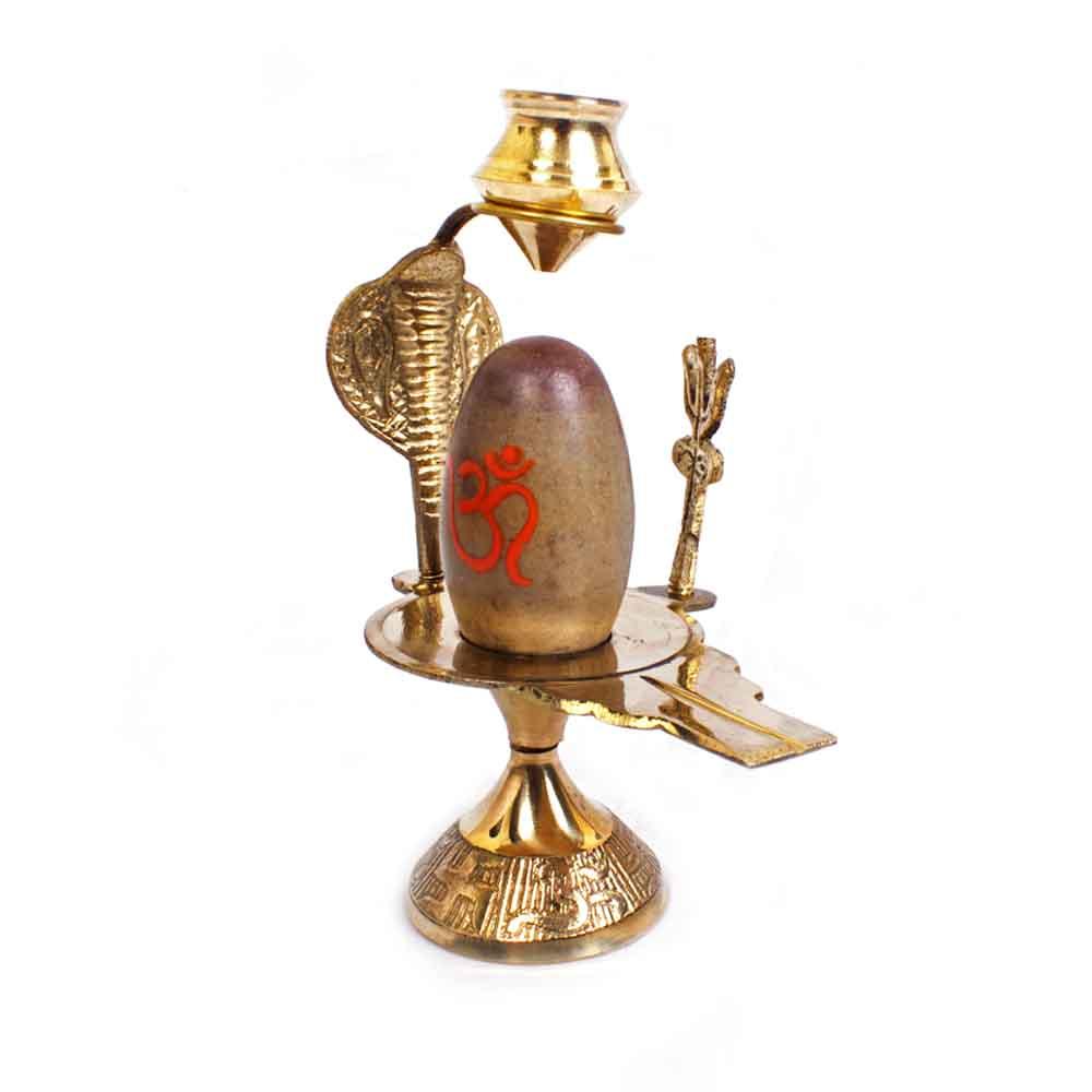 Narmadeshwar Shivling Brass base Trishul Kalash