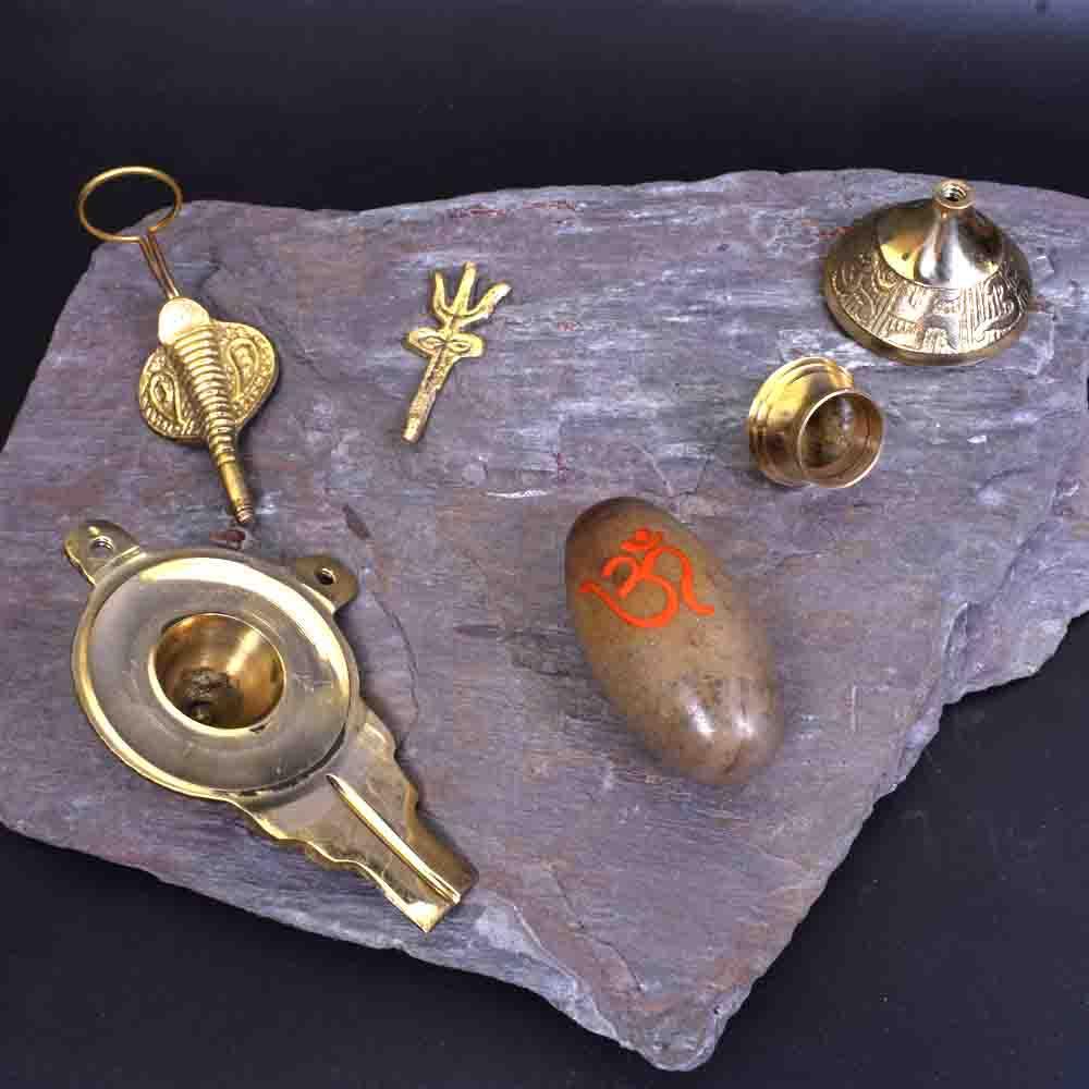 Narmadeshwar Shivling with Brass base Trishul Kalash