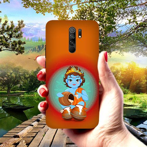 Krishna Makhanchor Orange Phone Cover for Redmi 9 Prime