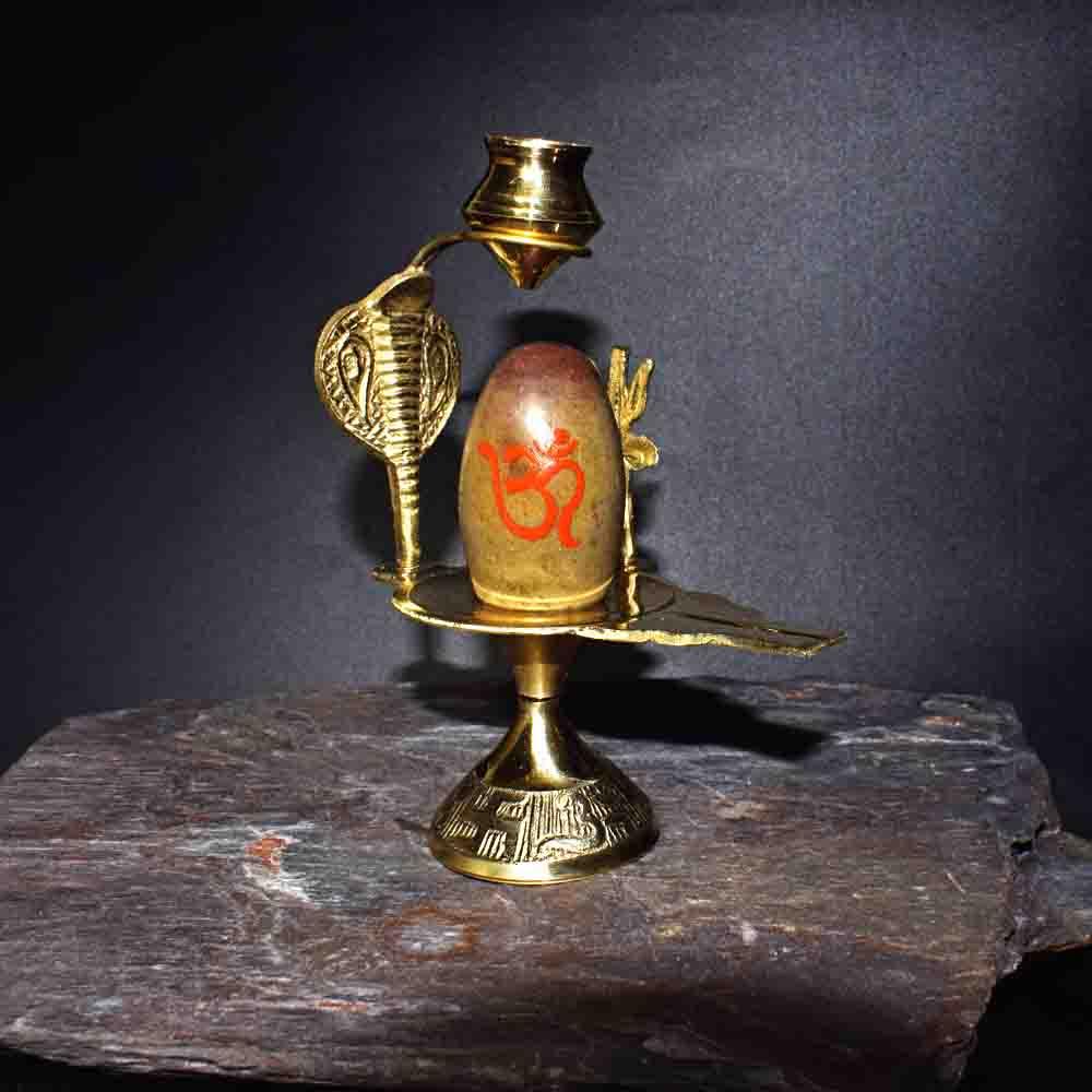 Online Narmada Shivling with Brass base Kalash