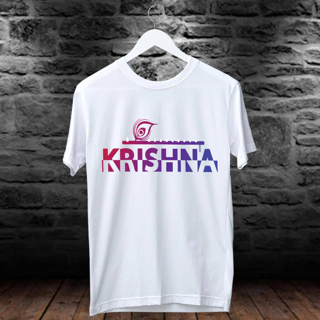 Krishna Gradient Attractive Style Art Design Printed T-Shirt | Prabhu Bhakti