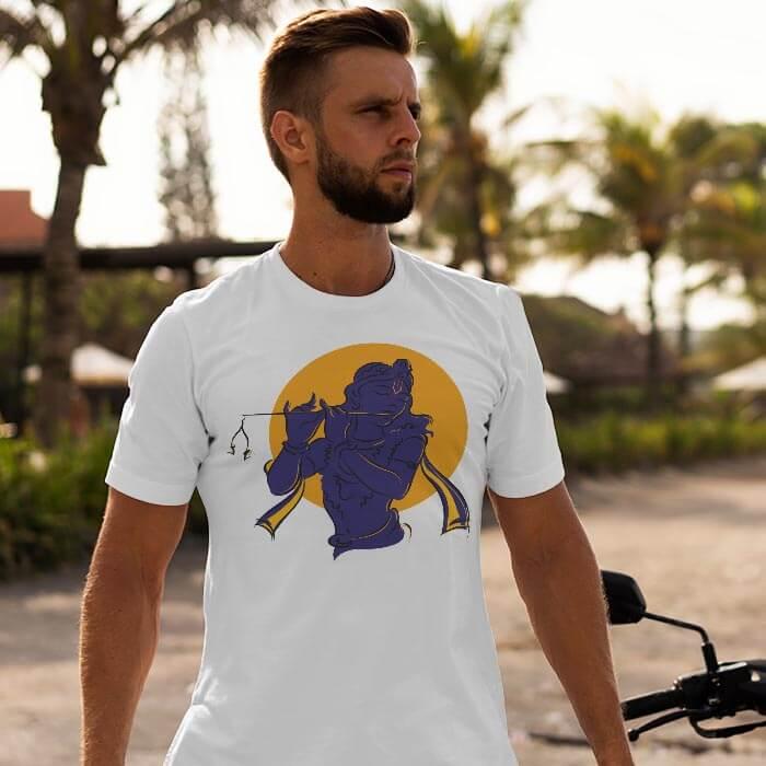 Krishna Shadow white t shirt for men