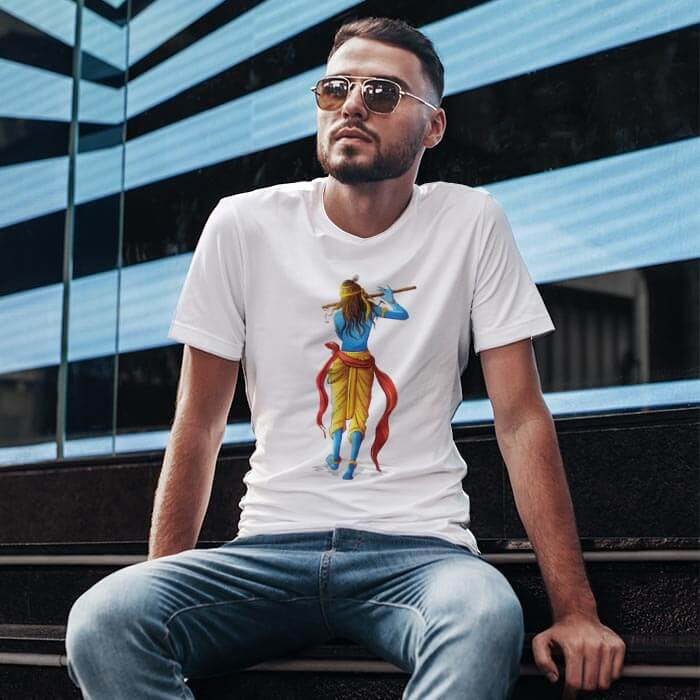 Lord Krishna Playing Flute t-shirt for men