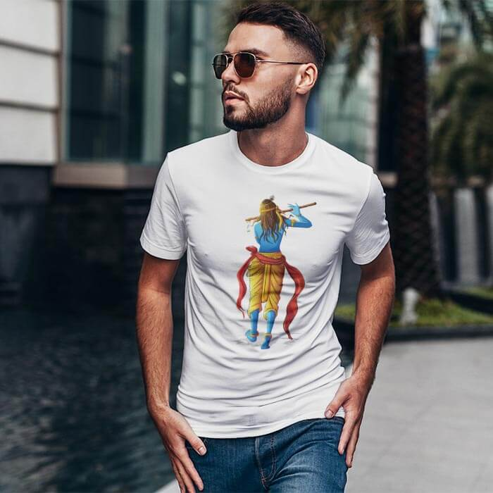 Lord Krishna Playing Flute t shirt for men